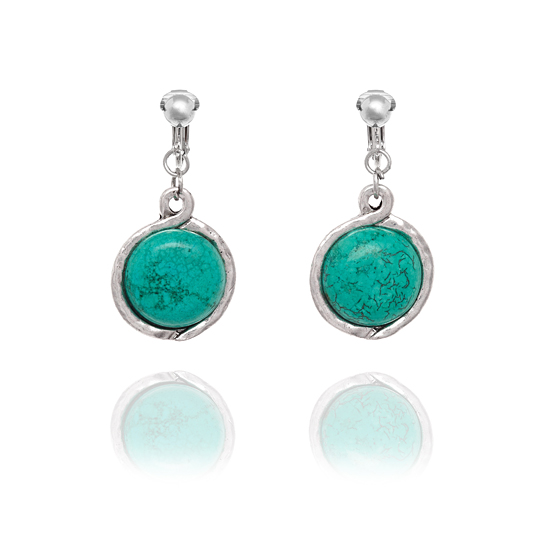 Look East Imitation Turquoise and Silver Circle Disc Clip On Earrings