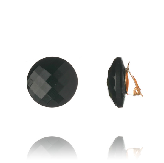 Button Clip On Earrings 1.5cm - Black Faceted