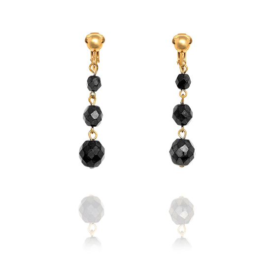 Big Grey Onyx Irridescent Baubles Clip On Earrings