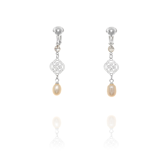 Elegant Pearl Drop Clip On Earrings - White Pearl