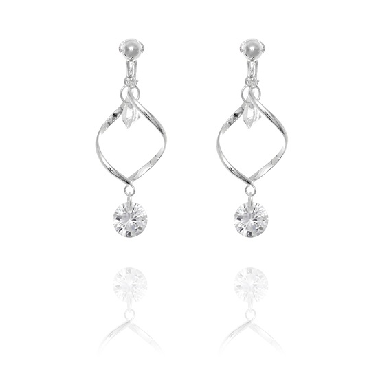 Diamante Swirl Clip On Earrings - Clear