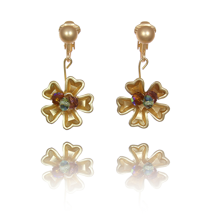 Crystal and Gold Flower Clip Earrings