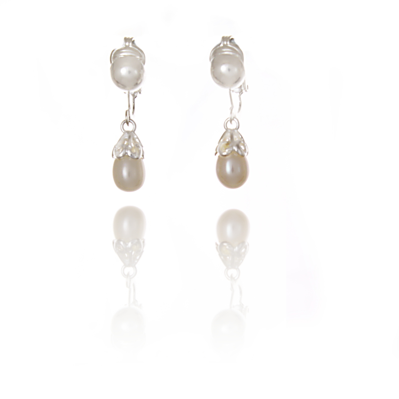 Silver Scalloped Pearl Drop Clip On Earrings