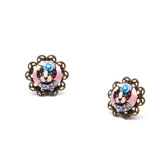 Posy Cat Button Clip On Earrings