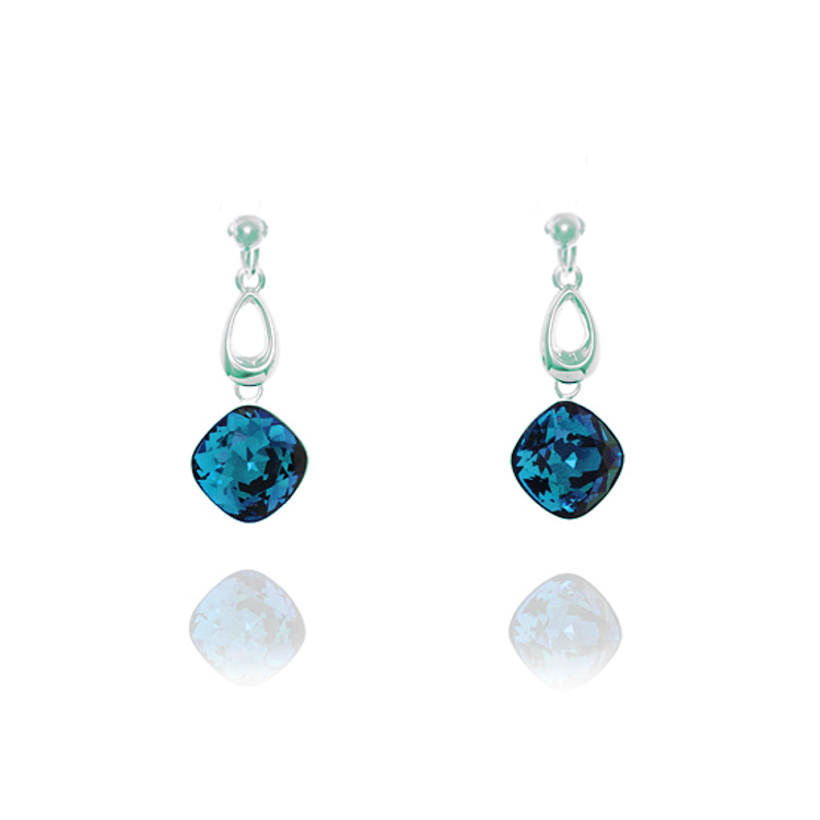 Miryoku Sterling Silver Swaroski Crystal Drop Clip Earrings - Indicolite