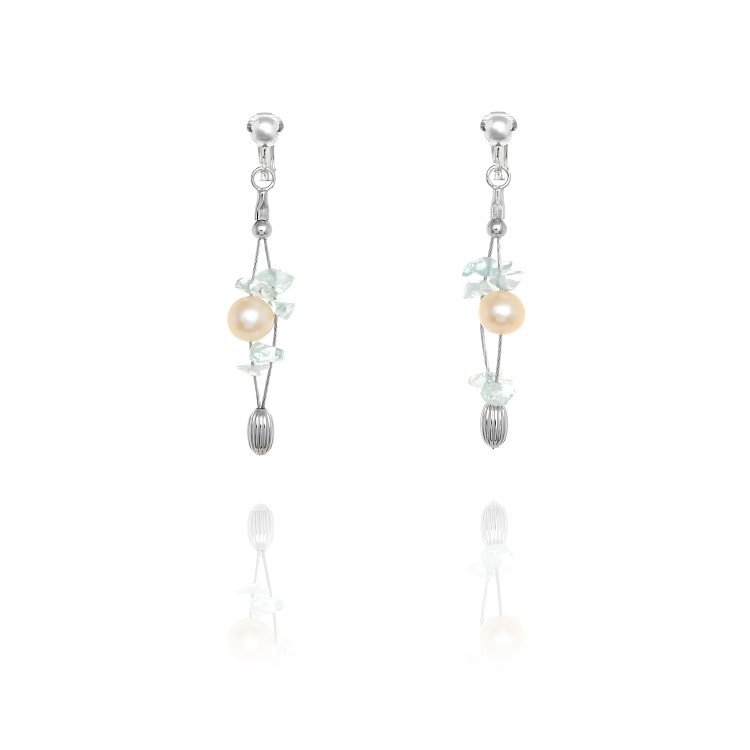Miryoku 925 Sterling Silver Pearl & Gem Drop Clip On Earrings