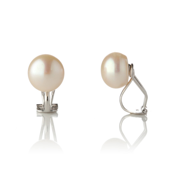 Genuine Pearl Clip On Earrings White Cream/Sterling Silver