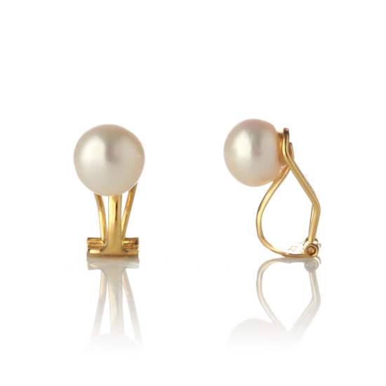 Genuine Pearl Clip On Earrings White Cream/Gold