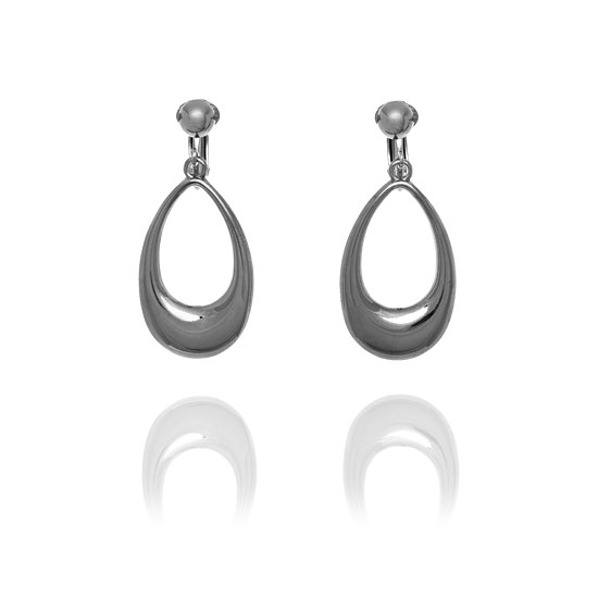 Rodney Holman Gunmetal Teardrop Clip On Hoop Earrings