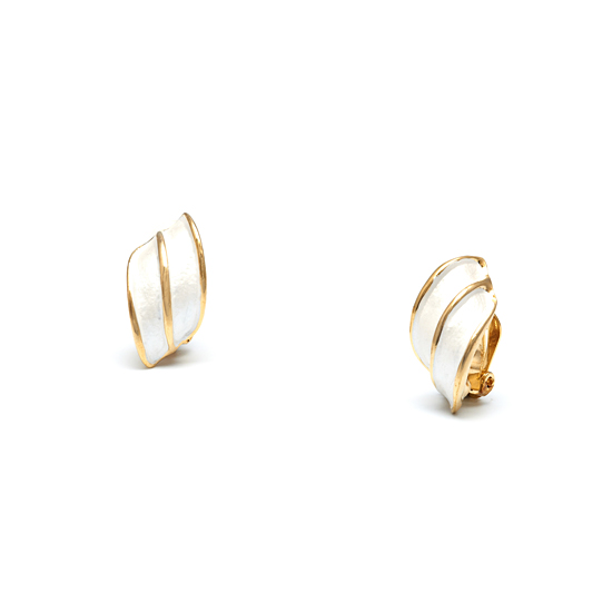 Rodney Holman 18ct Gold Plated Wing Clip On Earrings - White