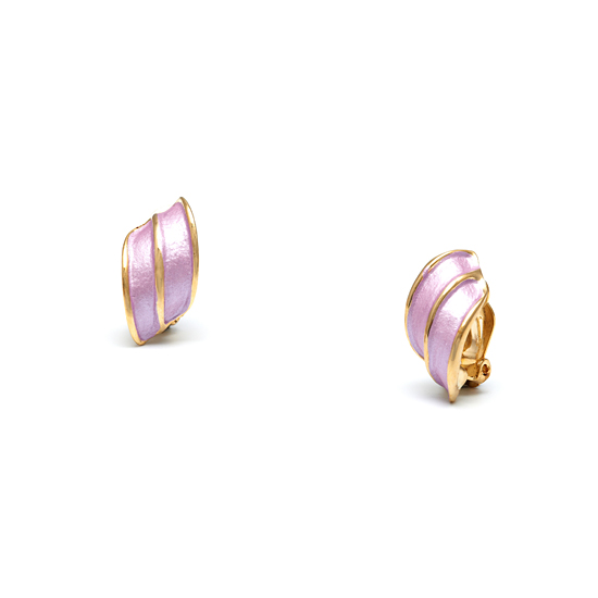 Rodney Holman 18ct Gold Plated Wing Clip On Earrings - Lilac