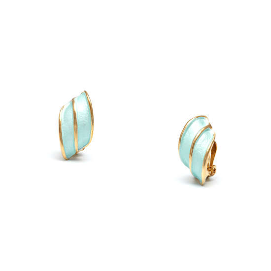 Rodney Holman 18ct Gold Plated Wing Clip On Earrings - Aqua Blue