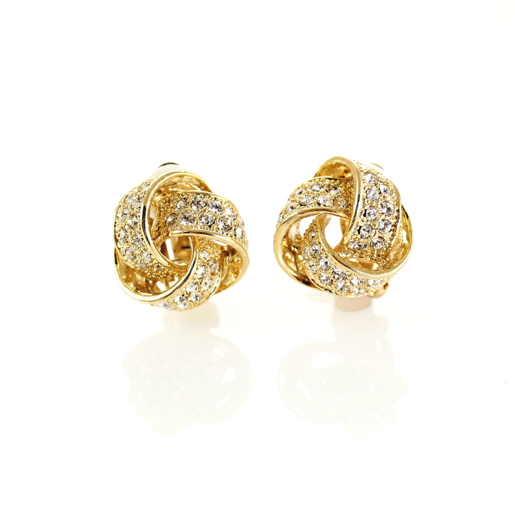 Rodney Holman Crystal Bow Clip On Earrings - Gold