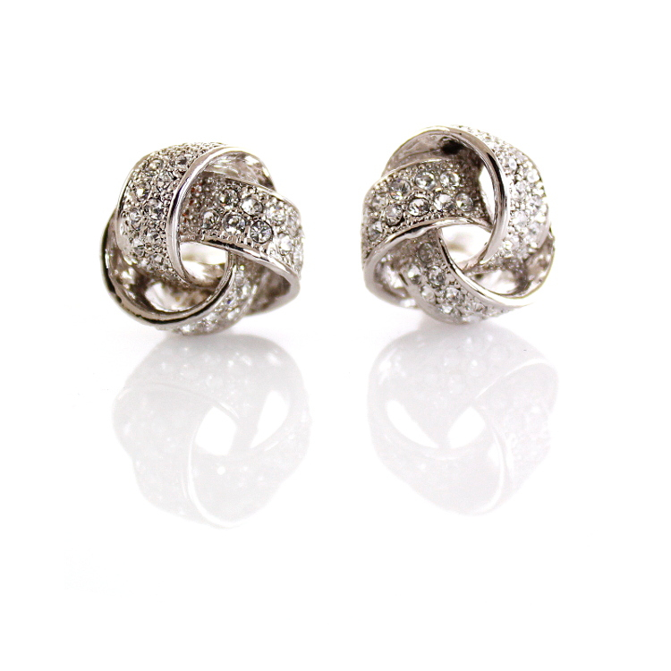 Rodney Holman Crystal Bow Clip On Earrings - Rhodium