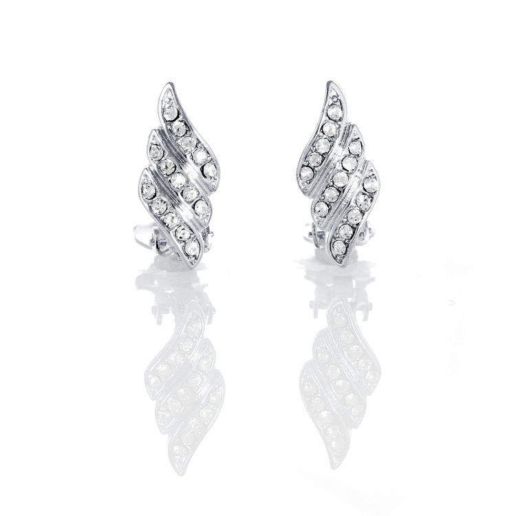 Rodney Holman Crystal Wing Clip On Earrings - Rhodium