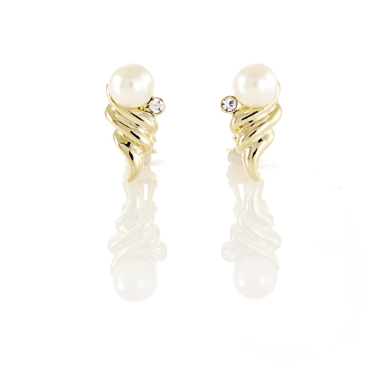 Rodney Holman Pearl Orb Clip On Earrings - Gold