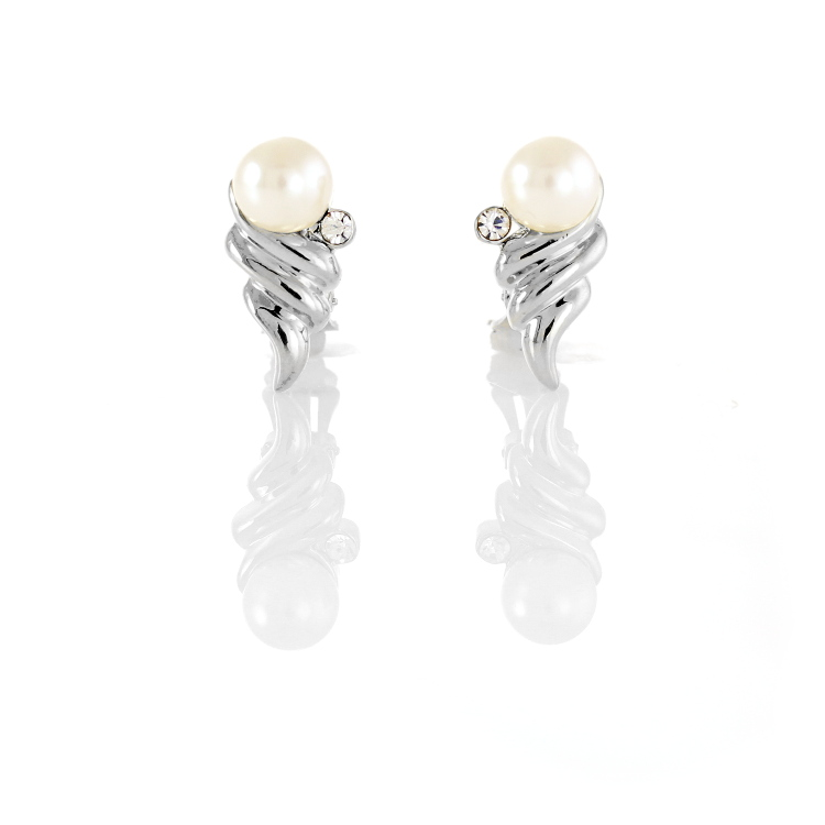 Rodney Holman Pearl Orb Clip On Earrings - Rhodium