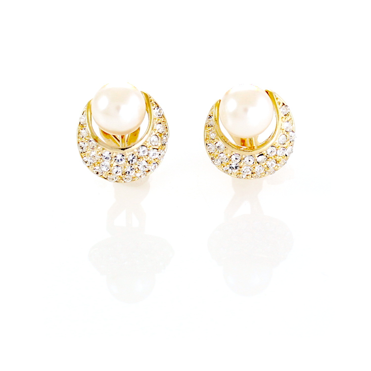 Rodney Holman Pearl Crescent Clip On Earrings - Gold