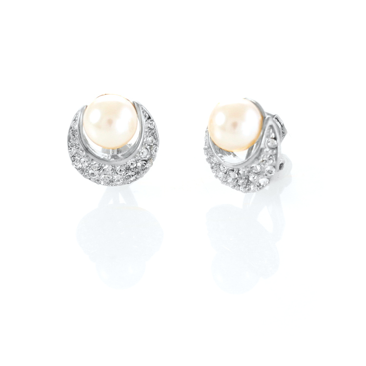 Rodney Holman Pearl Crescent Clip On Earrings - Rhodium