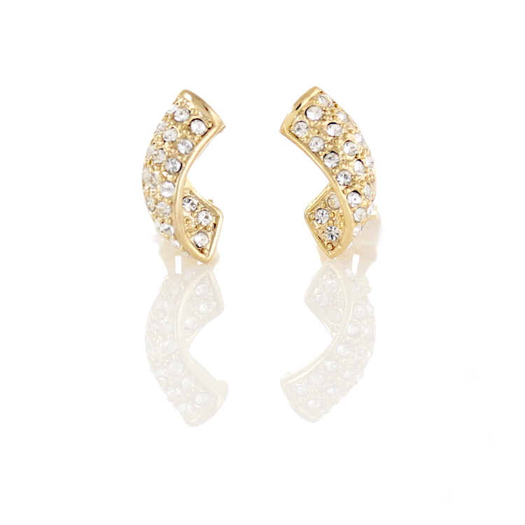 Rodney Holman Crystal Curve Clip On Earrings - Gold