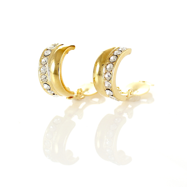 Rodney Holman Bejewelled Half Hoop Clip Earrings - Gold