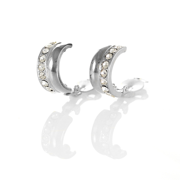 Rodney Holman Bejewelled Half Hoop Clip Earrings - Rhodium