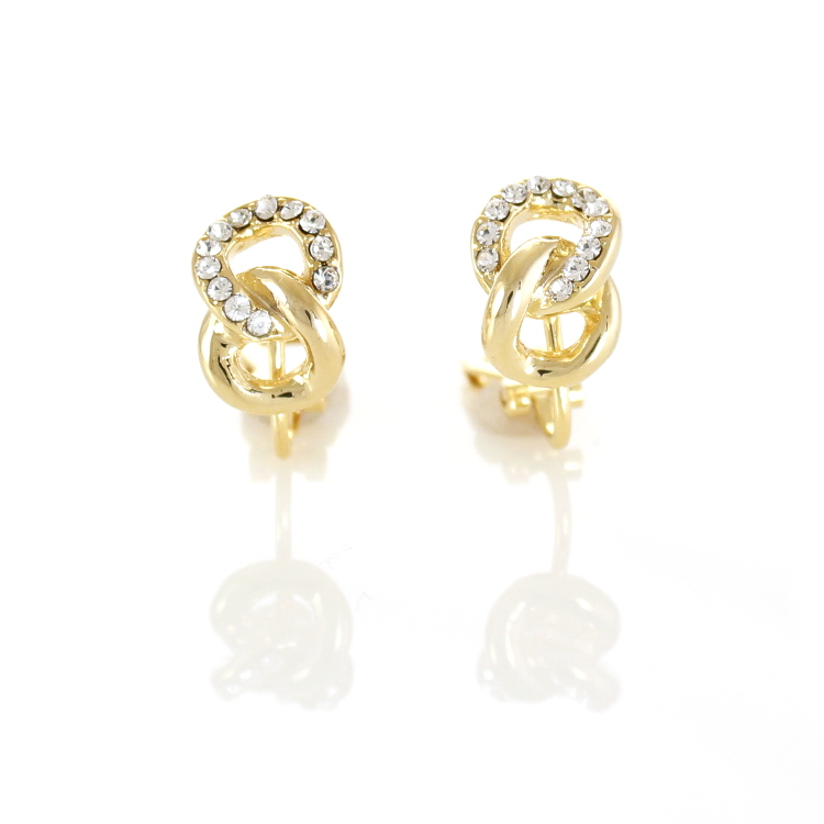 Rodney Holman Jewelled Figure Of Eight Clip Earrings - Gold
