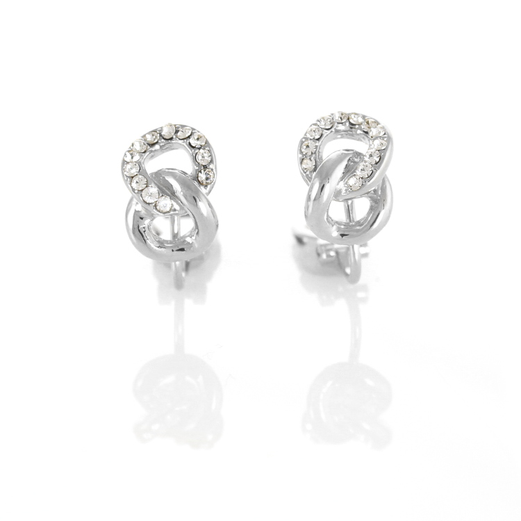 Rodney Holman Jewelled Figure Of Eight Clip Earrings - Rhodium