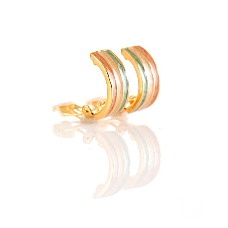 Rodney Holman Tricolour Half Hoop Clip On Earrings - Country