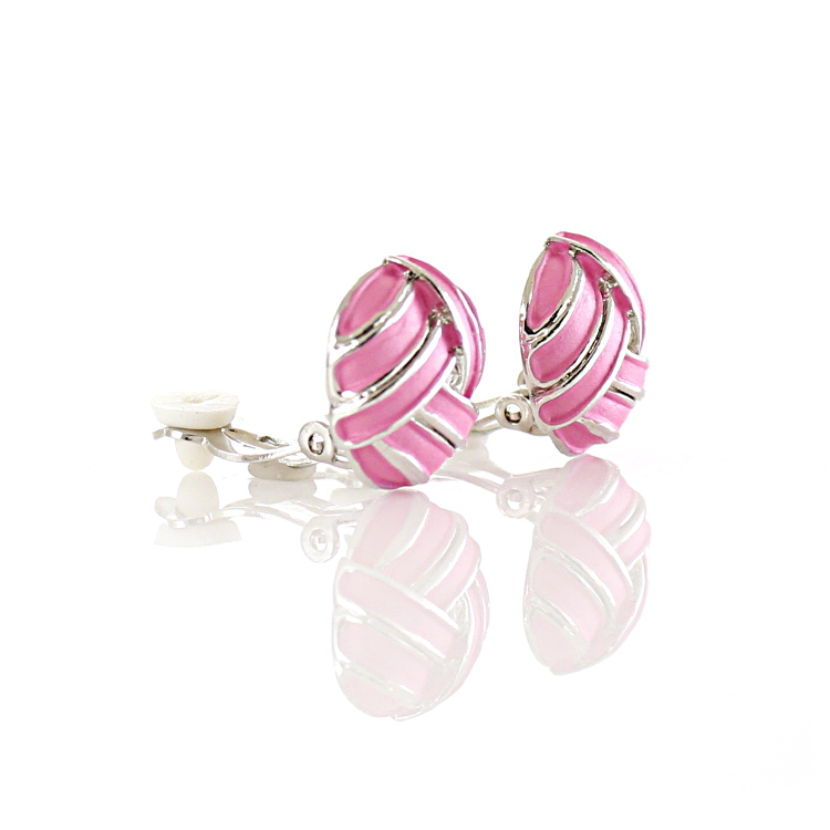 Rodney Holman Knot Clip On Earrings - Pink on Rhodium