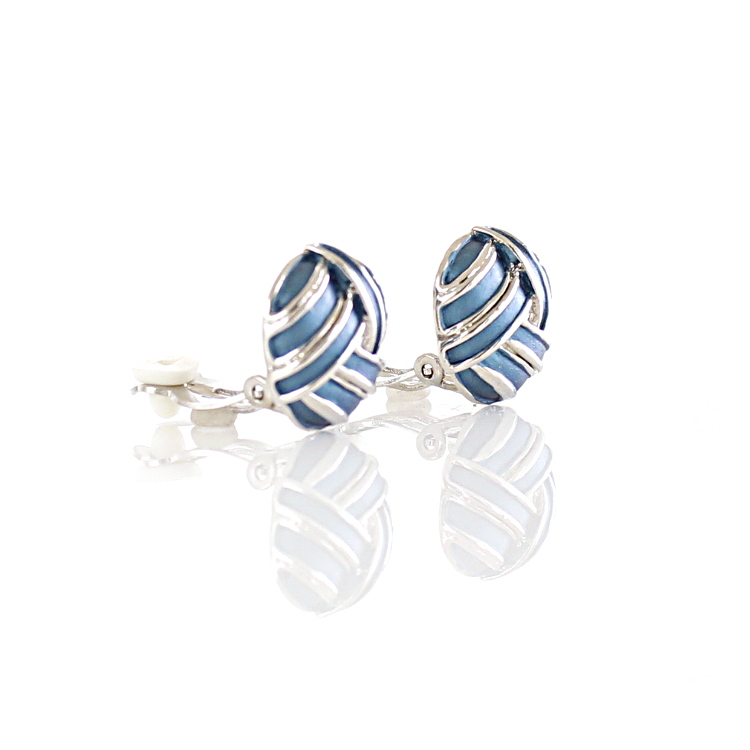 Rodney Holman Knot Clip On Earrings - Blue on Rhodium
