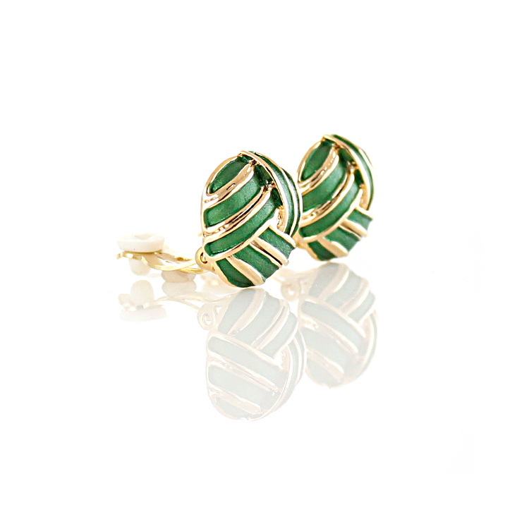 Rodney Holman Knot Clip On Earrings - Green on Gold