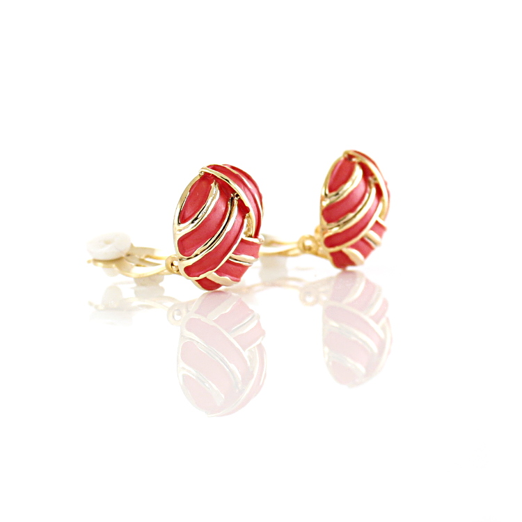 Rodney Holman Knot Clip On Earrings - Red on Gold