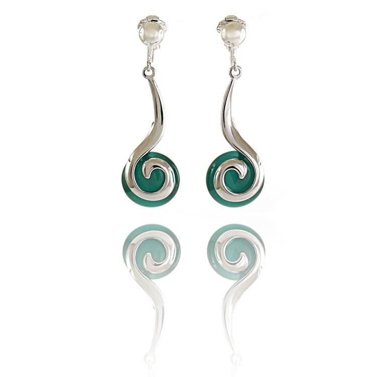 Rodney Holman Swirl Drop Clip On Earrings- Green