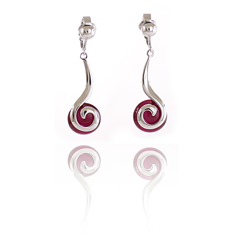 Rodney Holman Swirl Drop Clip On Earrings- Red