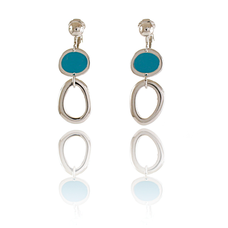 Rodney Holman Drop Clip On Earrings – Blue