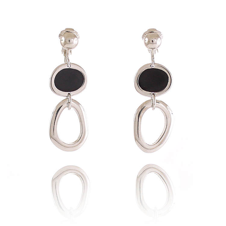 Rodney Holman Drop Clip On Earrings – Black