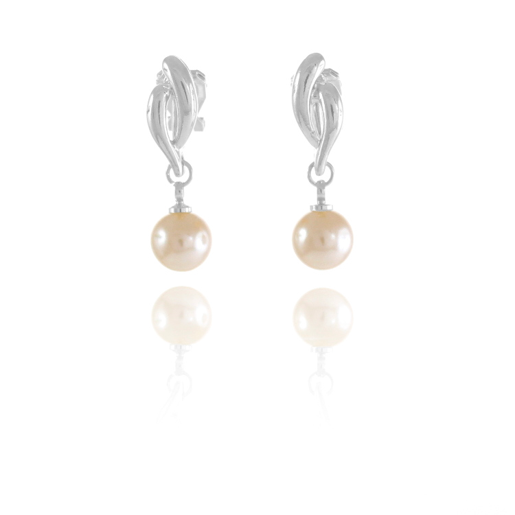 Rodney Holman Faux Pearl Bead Drop Clip On Earrings - Rhodium