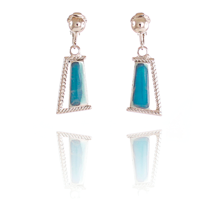 Rodney Holman Dangle Clip On Earrings - Blue