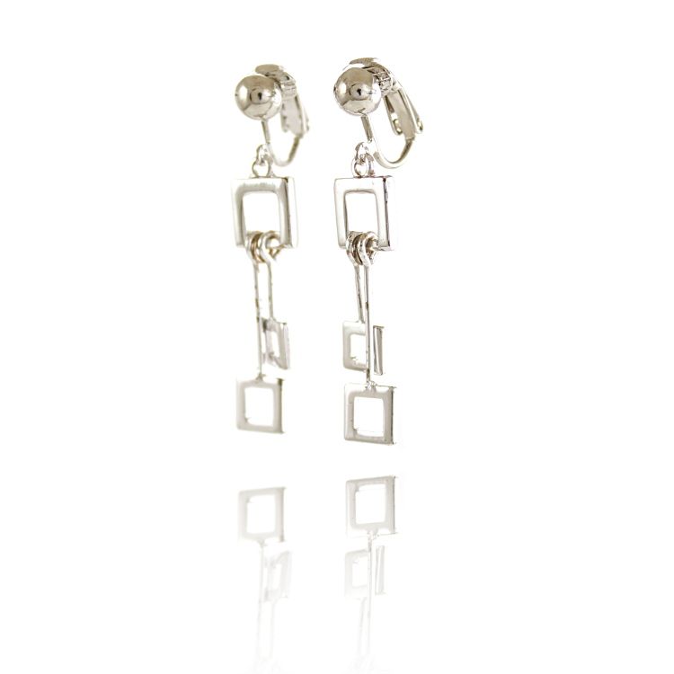 Rodney Holman Square Drop Clip Earrings