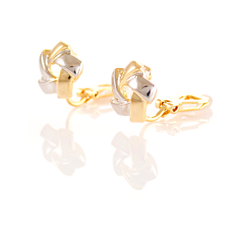Rodney Holman 18ct Gold Plated Rhodium Knot Clip On Earrings