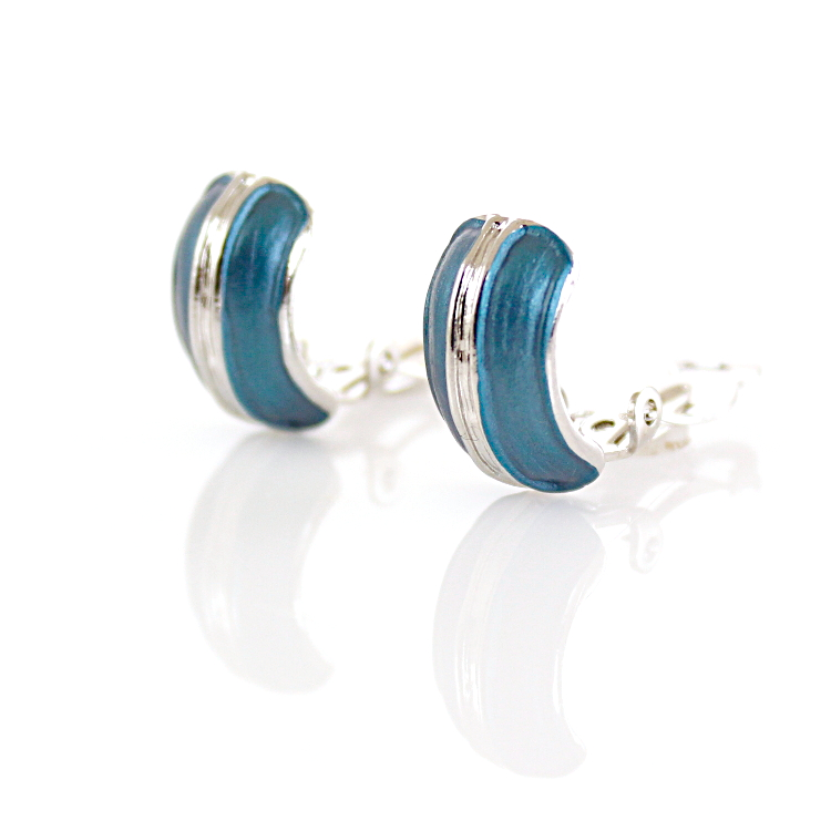 Rodney Holman Band Clip On Earrings – Blue