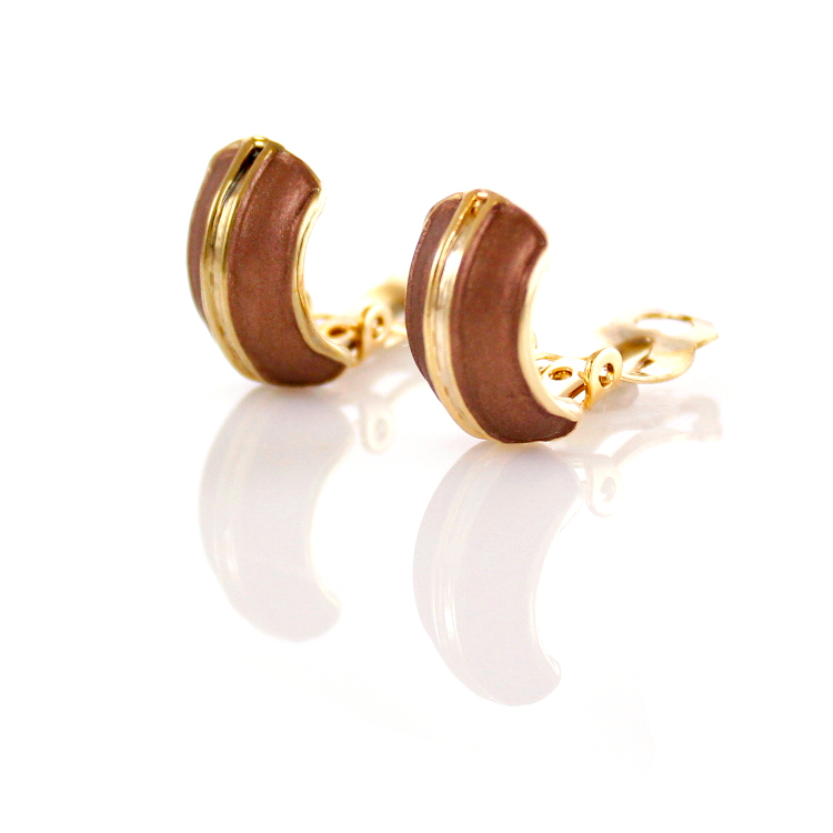 Rodney Holman Band Clip On Earrings – Brown