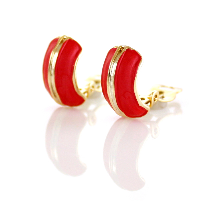 Rodney Holman Band Clip On Earrings - Red