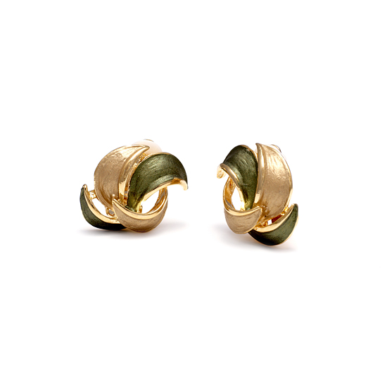 Rodney Holman 18ct Gold Plated Petal Clip On Earrings - Soft Green