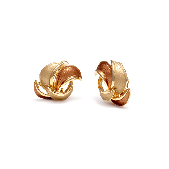 Rodney Holman 18ct Gold Plated Petal Clip On Earrings - Rosegold