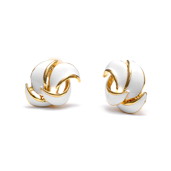 Rodney Holman 18ct Gold Plated Petal Clip On Earring - White Enamel