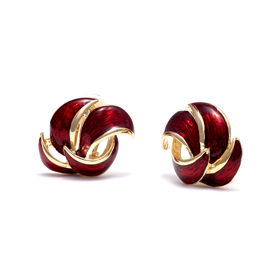 Rodney Holman 18ct Gold Plated and Red Enamel Petal Clip On Earring
