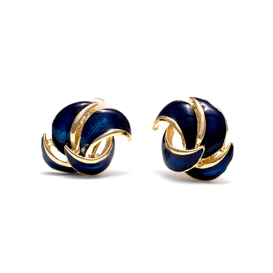 Rodney Holman 18ct Gold Plated and Navy Enamel Petal Clip On Earring