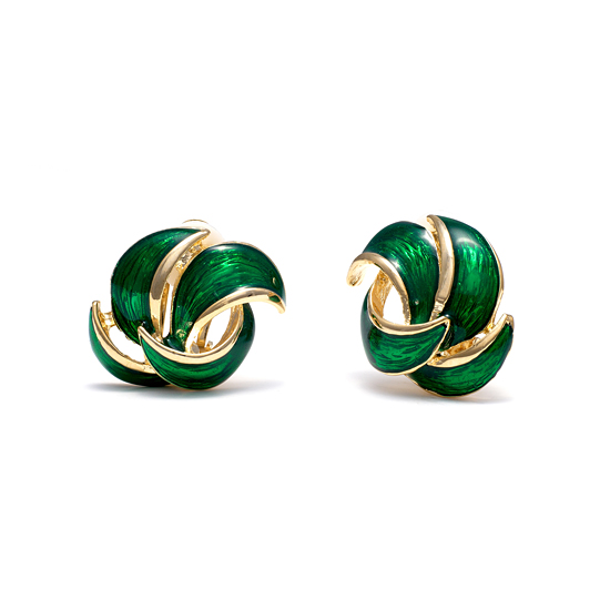 Rodney Holman 18ct Gold Plated and Green Enamel Petal Clip On Earring